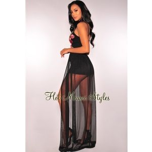 eaed7afc8224 Hot Miami Styles Pants - Black Embroidered Roses Mesh Maxi Romper